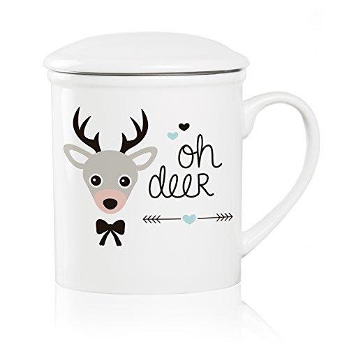 We Love Home - Taza de té de Porcelana con Tapa +...