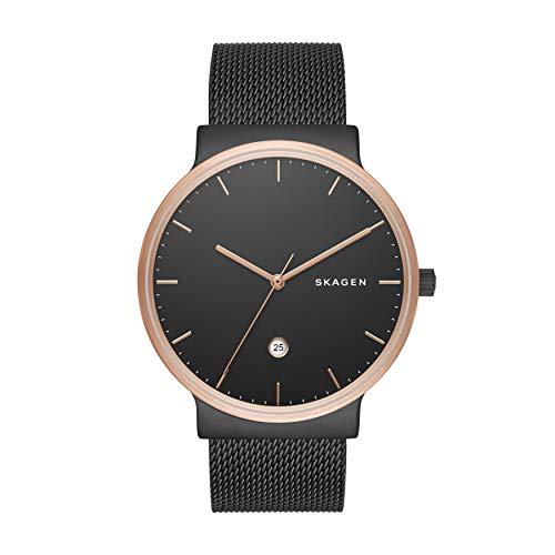 Skagen Herren Analog Quarz Uhr mit Edelstahl Armband SKW6296