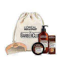 L'Oréal Men Expert Barber Club Premium Geschenkset, Bartpflegeset mit Bartshampoo, Bartöl, Bart Styling Pomade und gratis Bartkamm