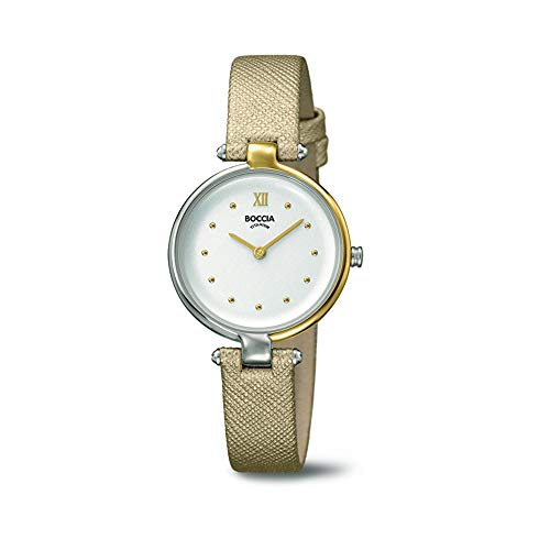 Boccia Damen Analog Quarz Uhr mit Leder Armband 3278-01