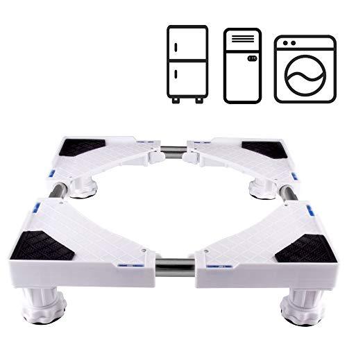 LUCKUP Base ajustable móvil multifuncional con 4 pies fuertes Tamaño ajustable Universal Mobile Case Roller Dolly para secadora, lavadora y refrigerador, blanco
