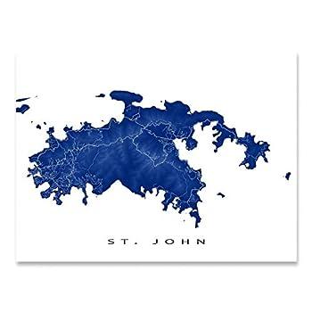 St John Map Art Print US Virgin Islands USVI Caribbean Island Artwork