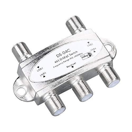 Morninganswer 4 en 1 4 x 1 DiSEqc Interruptor de Banda Ancha de 4 vías DS-04C Conexión de Alto Aislamiento 4 Antenas parabólicas 4 LNB para Receptor de satélite