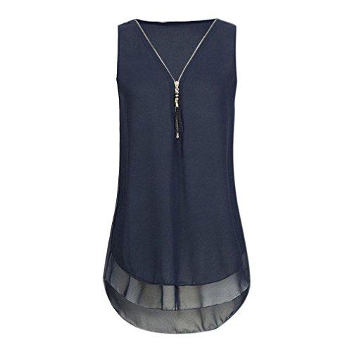iHENGH Damen Mode Frauen Casual T-Shirt Damen Ärmellos Weste Hemd Lose Tank Tops Plus Größe Freizeit Oberteile Tees