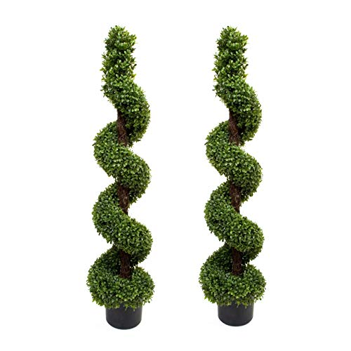 Artificial Topiary Boxwood Spiral Trees (4ft/120cm), Pack of 2