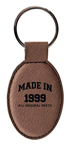 21st Birthday Gifts Made 1999 Birthday Gifts for Son or Daughter Leather Oval Keychain Key Tag Brown