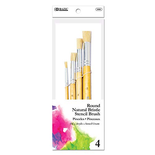 BAZIC Round Natural Bristle Stencil Brush Set, Great for Acrylic Oil Watercolor Gouache Body Painting Skin Art (4/Pack)