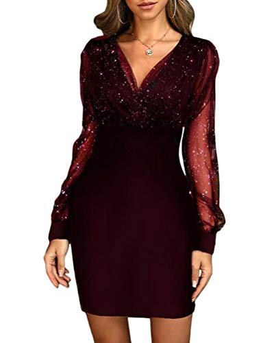 Minetom Vestido de Cóctel para Mujeres Brillante Manga Larga Cuello V Bodycon Vestido de Noche Fiesta E Vino Rojo 44