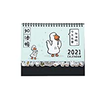 """卓上カレンダー 漫画2021卓上カレンダーかわいいアヒルデスクトップ立ち月間カレンダーは、計画のためのto-doリストデスク日記に反転することができ、8.3x6.7"""" カレンダー (Color : Blue)"""