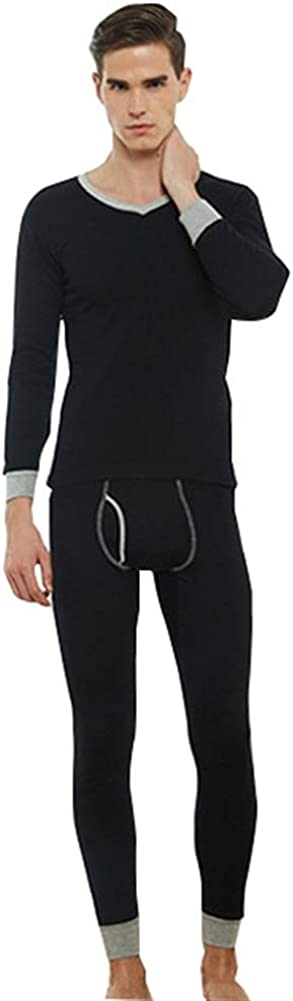 Chickle Men's Soft V-Neck Thermal Underwear Set Long Johns Base Layer