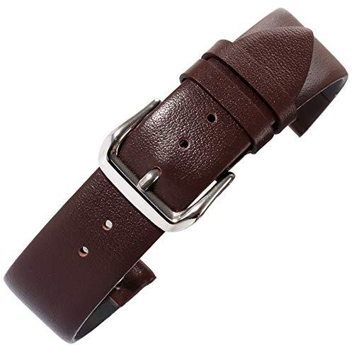 19 millimetri cinturini per orologi da polso classici da uomo marrone in vera pelle di vitello pieno fiore con fibbia ad ardiglione in acciaio