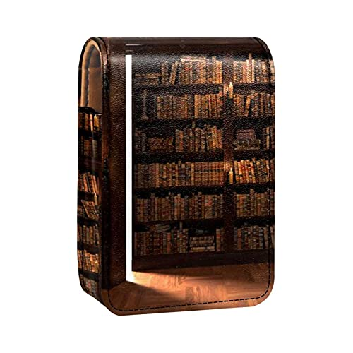 Lippenstiftetui Mini-Lippenstifthalter Die Geheimtür im Bücherregal Organizer-Tasche mit Spiegel für Geldbörse Reisekosmetiktasche