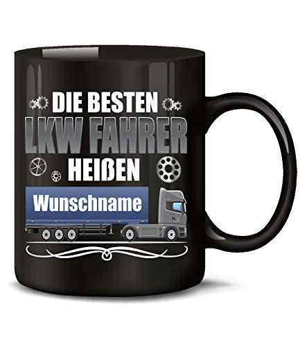 Golebros LKW Fahrer heißen Wunschname 6397 Kaffee Tasse Becher Geschenk Berufs kraftfahrer Arbeits Kleidung Lastwagen Trucker Fern Schwarz personaliesiert-es deko zubehör lustig witzig Truck