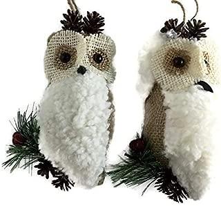 S&C Lodge Woodland Owl Ornaments for Christmas Tree   Faux Sheepskin, Burlap, Twine   6