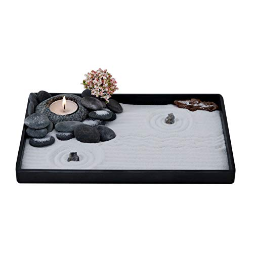 ICNBUYS Giardino Zen Realizzato a Mano Set portacandela a ciottolo con Utensili gratuiti per Giardino Zen, Sabbia, Vassoio di Base e Accessori