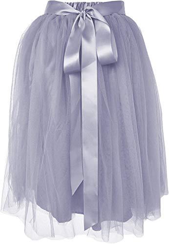Dancina Women's Knee Length Tutu A Line Layered Tulle Skirt Regular (Size 2-18) Grey