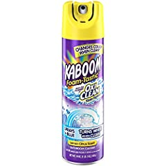 One 19 oz. Bottle of kaboom foam tastic with oxiclean citrus scent bathroom cleaner Sprays on blue and turns white when its ready to wipe Powerful OxiClean stain fighting bubbles 100% tough on dirt and grime with no hard scrubbing Easily wipes away t...