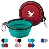 Rest-Eazzzy Collapsible Dog Bowls for Travel, 2-Pack Dog Portable Water Bowl for Dogs Cats Pet Foldable Feeding Watering Dish for Traveling Camping Walking with 2 Carabiners, BPA Free (Green&Red)