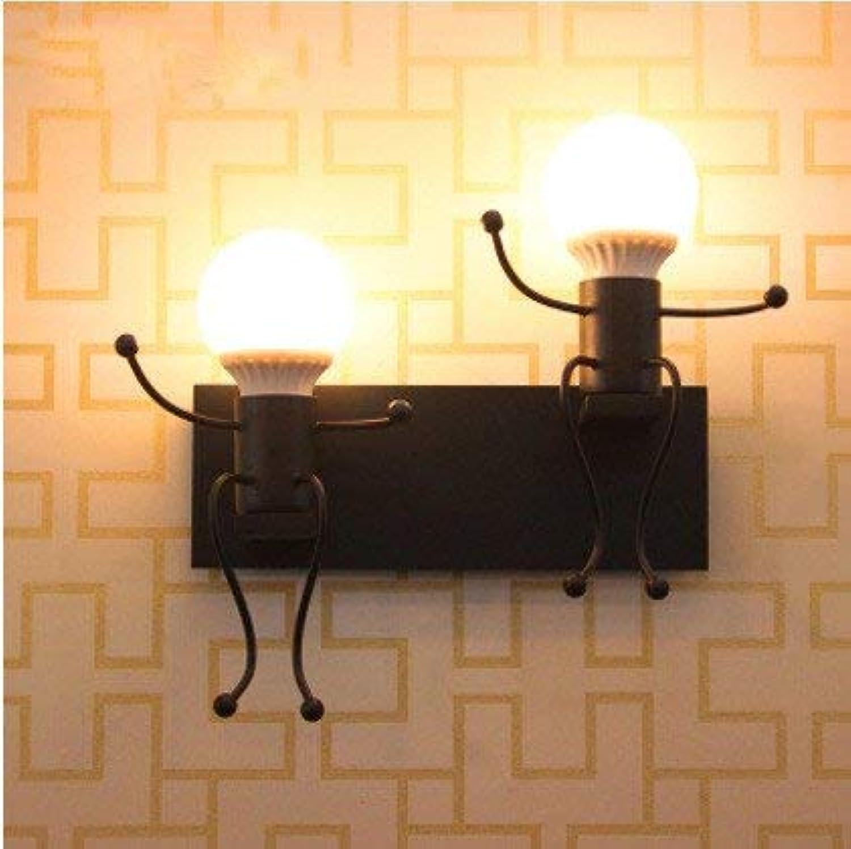 QSM Moderne minimalistische Innenwand-Leuchte, Bedide Lampen-Schlafzimmer-Hochzeits-Raum-Eisen-Lampen-Retro- Hotel-Wand-Lampen-Raum-Hallen-Eingangs-Wand-Lampe, B1 doppelter Kopf mit warmem Licht 5W, B07HVMFQD8 | Gewinnen Sie hoch geschätzt