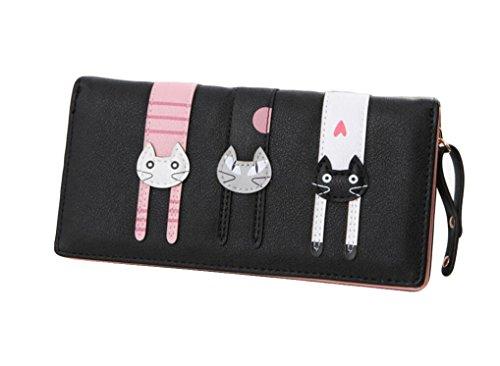 Diyafas Lange Reißverschluss Brieftasche Geldbörse für Damen Süß Karikatur Katzen Geldbeutel Kartenhalter Handtasche