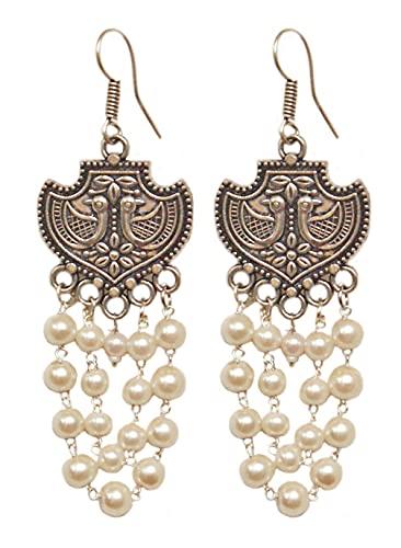 Pahal - Pendientes largos de plata oxidados con perlas blancas tradicionales y perlas blancas