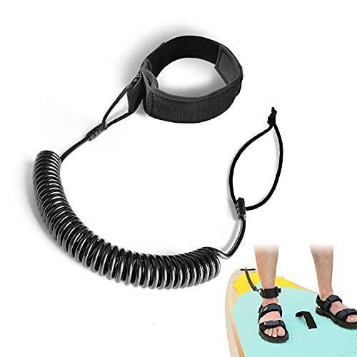 JEEZAO 10 Füße Surfboard SUP Leash, Wasserski Fußseil Aufgerollten TPU Sicherheitsfuß Seil Schlaufen für Stand Up Paddle Board Surfbrett Fußseil
