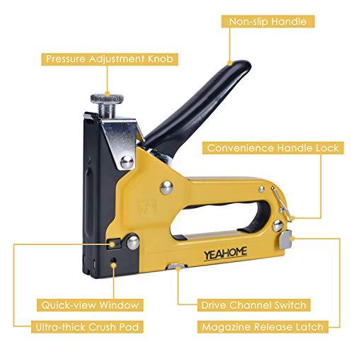 Upholstery Staple Gun Heavy Duty, YEAHOME 4-in-1 Stapler Gun with 4000 Staples, Manual Brad Nailer Power Adjustment...