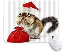 """ゲーム用マウスパッド、クリスマス帽子とギフト付きの動物用リス、9.5"""" x7.9""""ノートブック用滑り止めラバーバッキングマウスパッドコンピューターマウスマット"""
