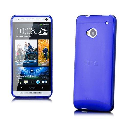 iCues HTC One M7 |  Transparent TPU Case Blau | [Display Schutzfolie Inklusive] Transparent Klarsichthülle Durchsichtig Klare Klarsicht Silikon Gel Schutzhülle Hülle Cover Schutz