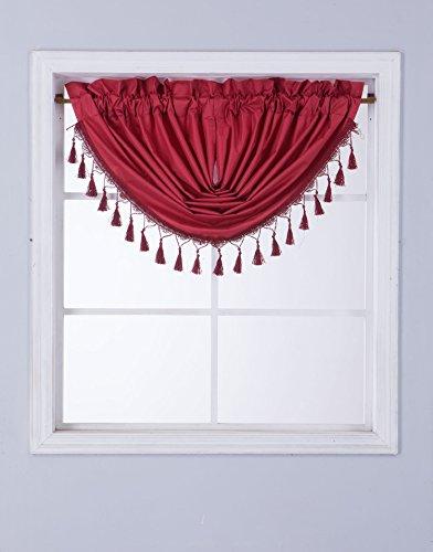 GorgeousHomeLinen (RS8) 1 Short Decorative Rod Pocket Foam Lined Blackout Silk Swag Waterfall Window Curtain Valance for Kitchen, Living Room, Bedroom, Nursery, Basement & Bathroom (Burgundy)