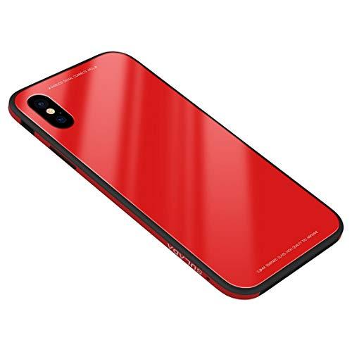 weishan Caso Marco de Metal de Moda Caja de Cristal endurecida for iPhone XS MAX (Color : Red)