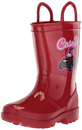 Ad Tec 8 Inch Toddlers Girls Easy ON Off Rain Boots, Red Synthetic Waterproof PVC Lightweight Outsole Offer Traction on Slick Surfaces