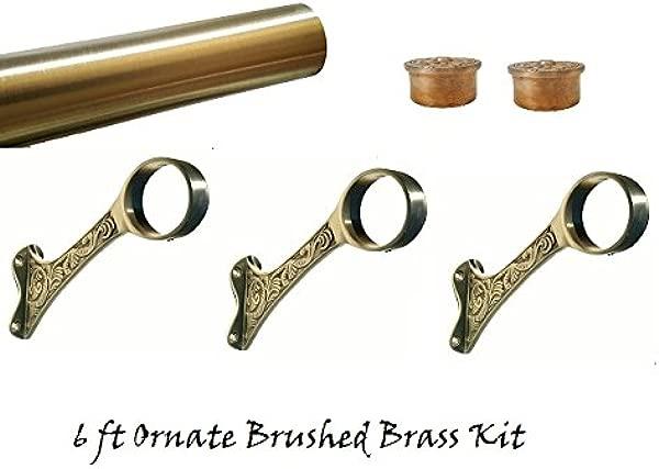 TheFootrailStore Com 6 Ft Satin Finish Brass Ornate Bar Mount Complete Kit 2 OD
