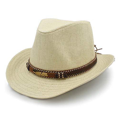 YUXINXIN Panama Sonnenhut Basthut Sommer Damen Jazz Strohhut Leder geflochtene Legierung Feder geschmückt Strand Herren (Farbe : Beige, Größe : 56-58CM)