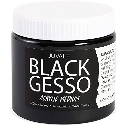 Gesso Acrylic Paint for Arts & Crafts (16.9oz, 500ml, Black)