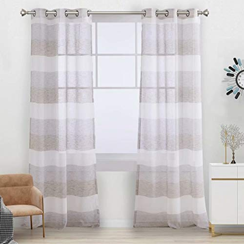 Aloft Striped Sheer Curtains for Bedroom - Linen Look Color Block Semi Sheer Drapes 84 inches Long Grommet Voile Window Curtain for Farmhouse and Living Room, Cafe, 40x84, 2 Panels