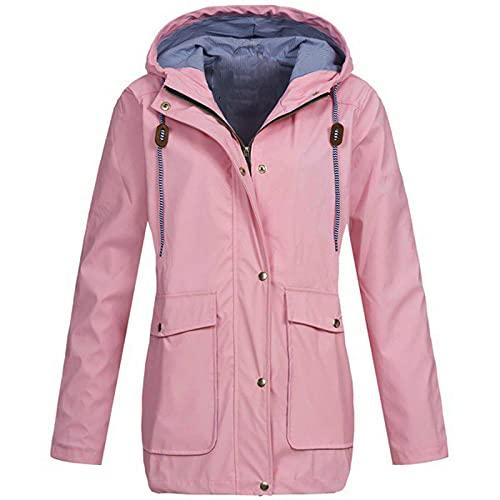 Liably Chubasquero para mujer, impermeable, monocolor, resistente al viento, con capucha, chaqueta para exterior, chaqueta deportiva cortavientos, Rosa., XL