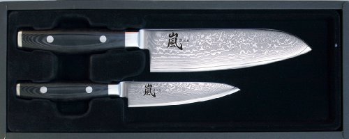 Yaxell Ran 69 - Cuchillo santoku (hoja de 16,5 cm, cuchillo universal, hoja de 12 cm)