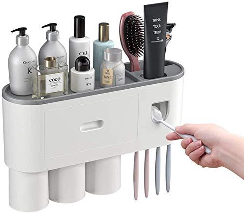 Dispensador de pasta de dientes multifunción, soporte para cepillo de dientes automático de pared con 2 tazas y cajones, organizador de baño para almacenamiento cosmético (3 copas)