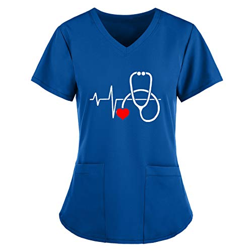 Blusa de Manga Corta con Cuello en V para Mujer, Blusa con Estampado de Dibujos Animados Uniforme de Trabajo, Accesorios de Enfermera, Batas
