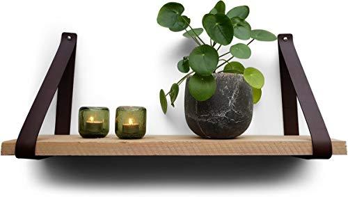 Lederen plankdragers | Bruin | 2 stuks | 100% volnerf leer | plankhouder leer plankhouder | lederen plankdragers | wandplank