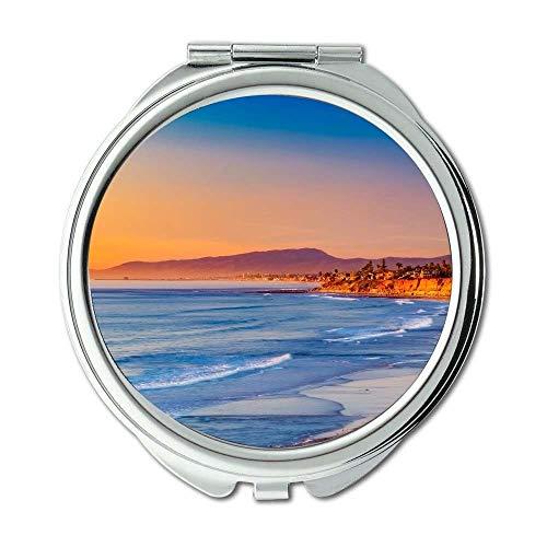 Yanteng Spiegel, Reise-Spiegel, schöner Strand Kalifornien, Taschenspiegel, tragbarer Spiegel