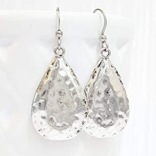shiny finish all natural feminine hypo allergenic Sterling Silver hammered paddle bead dangle earrings handmade modern nickel free