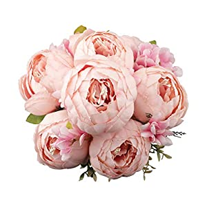 """Decpro 1 Pack Artificial Peony Bouquet, 19"""" Silk Big Peonies Flowers with Buds for Wedding Home Office Hotel Decoration, Table Centerpieces, DIY Floral Arrangements"""
