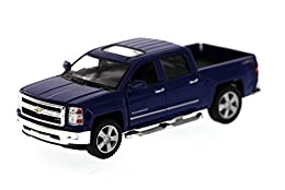 "1/46 scale diecast collectible model car This Chevy Silverado is 5""L x 2""W x 1.75""H Pullback motor action and openable doors & tailgate Blue"