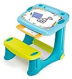 Smoby 420218 Schreibtisch Magic Blau, Kinder-Schreibtisch mit integrierter Sitzbank und Schublade aus Kunststoff für Kinder ab 2 Jahren, blau