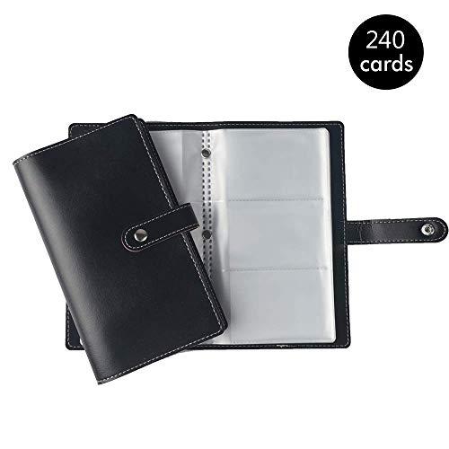 Tarjetero para 240 Tarjetas de Vsita, Libro de Tarjetas de Visita, PU Organizador para Tarjetas, Color Negro