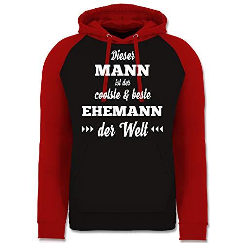 Typisch Männer - Dieser Mann ist der coolste und Beste Ehemann - M - Schwarz/Rot - lustige pullis - JH009 - Baseball Hoodie