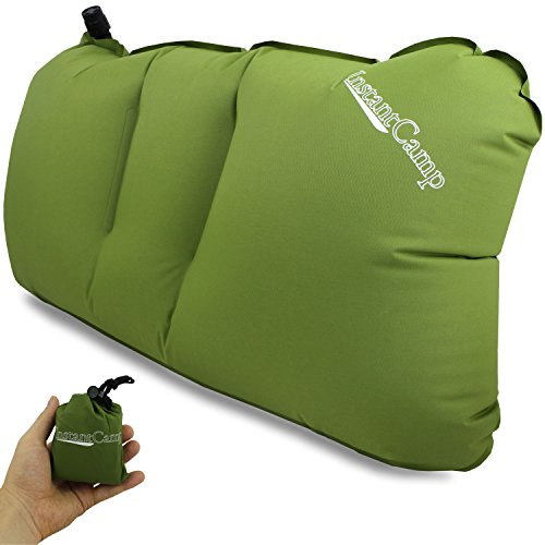 InstantCamp Ultralight Inflatable/Compact Backpacking Pillow for Camping/Travel, Compressible for Hiking, Fishing, Cycling, Airplanes and Lumbar Back Support - 2.4 oz Air - Light Pillow (Green)