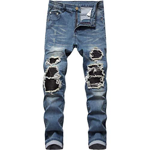 Huntrly Pantalones Vaqueros para Hombre Retro Delgado Recto Tendencia Personalidad Rasgados Pantalones Vaqueros de Motocicleta de Gran tamaño Pantalones de Mezclilla Populares elásticos de Moda 34